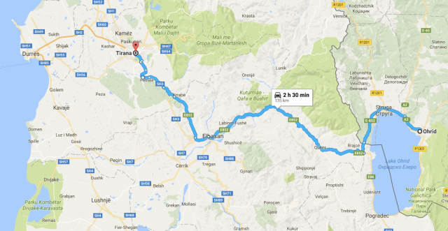 Ohrid to Tirana map