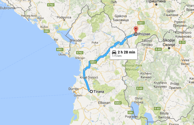 Tirana to Prizren map