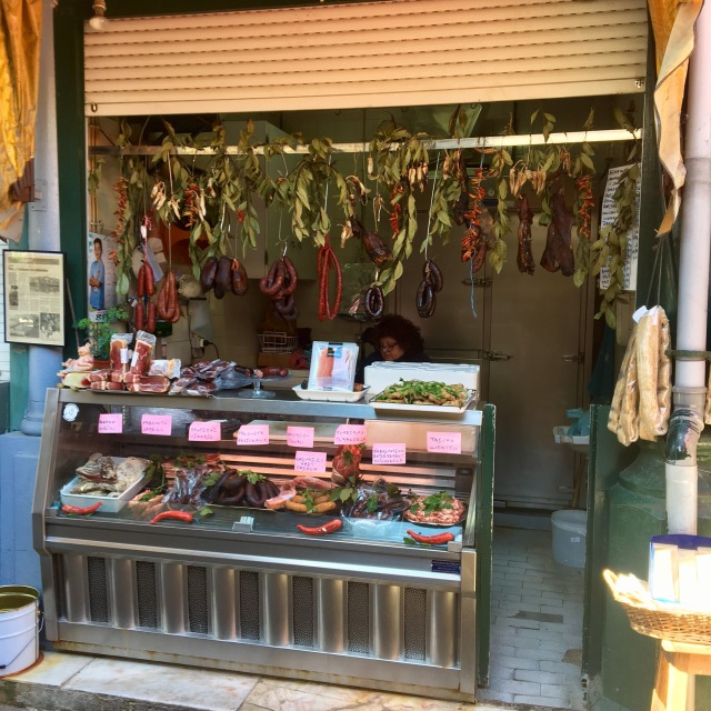 Sausages and cured meats, market stall, Porto