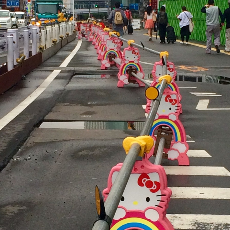 Hello Kitty roadworks in Shibuya, Tokyo